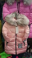 Зимнее пальто для девочек на флисе