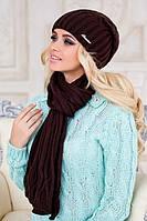 Женский вязаный комплект шапка и шарф Аврора в разных цветах