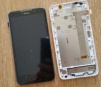 Дисплей (экран) для HTC 516 Desire Dual Sim + с сенсором (тачскрином) и рамкой белый Оригинал