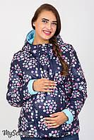 Короткая демисезонная двухсторонняя куртка для беременных из однотонной и принтованной плащевки лаке