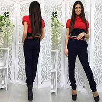 Темно-синие женские модные брюки с корсетом. Арт-1374/27
