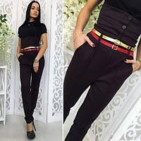 Темно-коричневые женские модные брюки с корсетом. Арт-1374/27