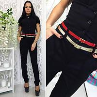 Черные женские модные брюки с корсетом. Арт-1374/27
