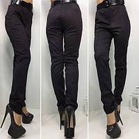 Коричневые женские классические брюки с ремнем. Арт-1375/27