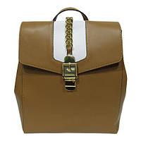 Женская  сумка-рюкзак из натуральной кожи фабричная (отшита  в Италии) рыжего цвета