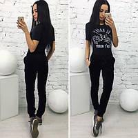 Черные женские модные бархатные штаны с меховыми пумпонами. Арт-1376/27