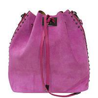 Женская  сумка из натурального замша фабричная (отшита  в Италии) малинового цвета, на одну ручку