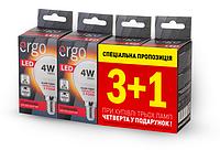 LED лампа ERGO Standard Набор 3+1 G45 E14 4W 220V 3000K Теплый белый
