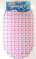 """Силиконовые коврики для ванной на присосках """"Точки"""" розовый SkTd04"""