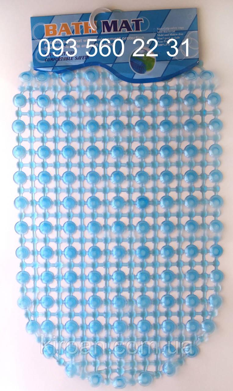 """Силиконовые коврики для ванной на присосках """"Точки"""" голубой SkTd03"""