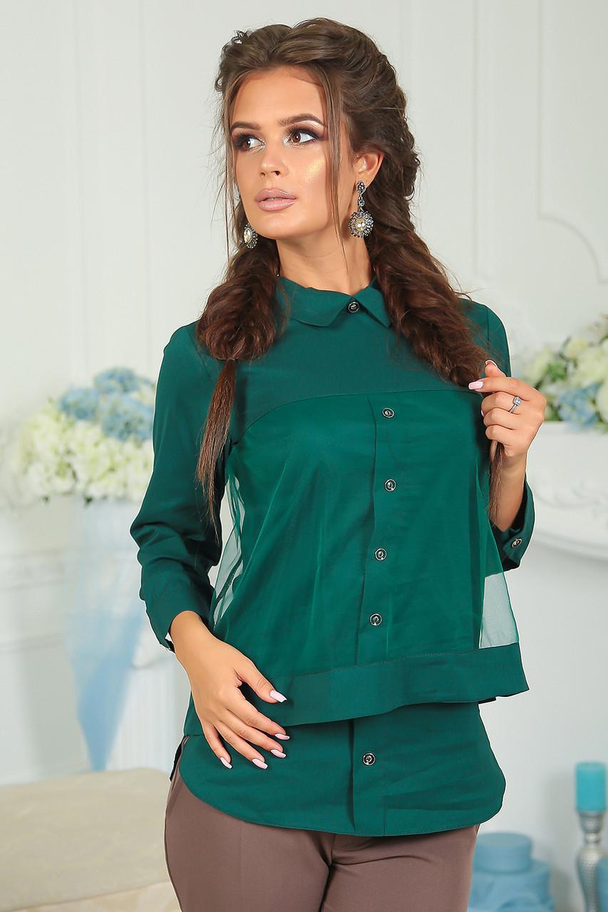 Комбинированная Рубашка Берта зеленая