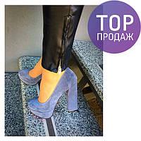 Женские туфли на каблуке 13 см, натуральный замш, серые / туфли для  девочек Shik, модные