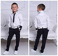 """Белая рубашка """"Галстук"""" с длинным рукавом, на мальчика."""