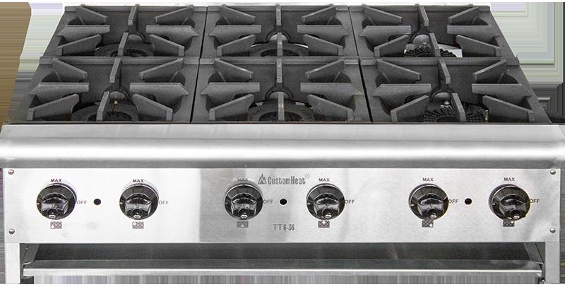 Плита газовая ТТ6-36  настольная 6-ти конфорочная CustomHeat