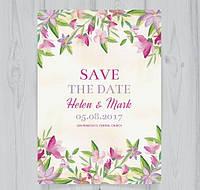 Свадебные акварельные цветочные пригласительные
