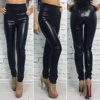 Черные женские модные стильные кожаные лосины с широким поясом . Арт-1389/27.
