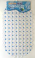 """Силиконовые коврики для ванной на присосках """"Точки"""" синий SkT13"""