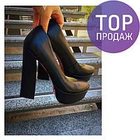 Женские туфли Shik, каблук 13 см, кожаные, черные / туфли женские Шик, стильные