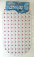 """Силиконовые коврики для ванной на присосках """"Точки"""" малиновый SkT14"""