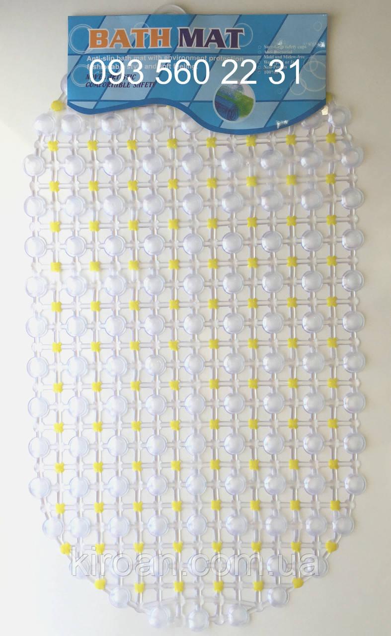"""Силиконовые коврики для ванной на присосках """"Точки"""" желтый SkT15"""