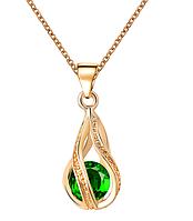 Цепочка с подвеской зеленый кристалл код 1237