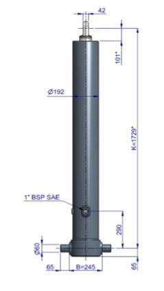 Гидроцилиндр 5-ти штоковый Hyva, фронтальный с проушиной на штоке (FE A169-5-07130-019K)