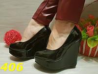 Женские туфли на платформе черные, р.35-39