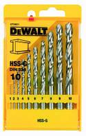 Набор сверл по металлу Dewalt HSS-G 10шт, d=1-10мм.