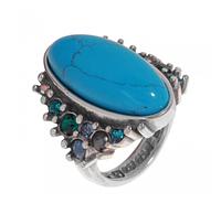 """Кольцо """"Aura-X"""" с бирюзой, покрытое серебром (j72530b7)"""