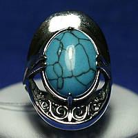 Ажурное серебряное кольцо с имитацией бирюзы 1011