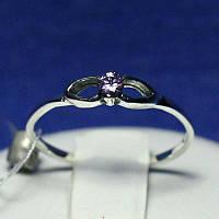 Серебряное кольцо с сиреневым цирконом 1004сир