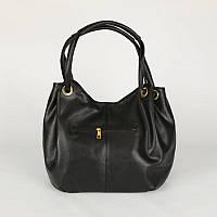 Женская сумка-мешок из кожзама черная, удобная М86-47