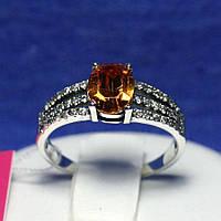 Серебряное кольцо с цирконом янтарным 1038кон, фото 1