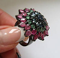 Кольцо с рубинами, изумрудами, сапфирами. Серебро, черный родий