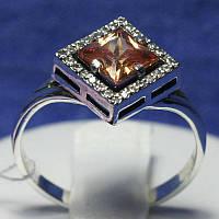 Серебряное кольцо с цирконием янтарным 11096кон, фото 1