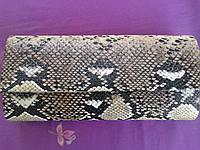 Женский клатч бежевый под рептилию (Турция)