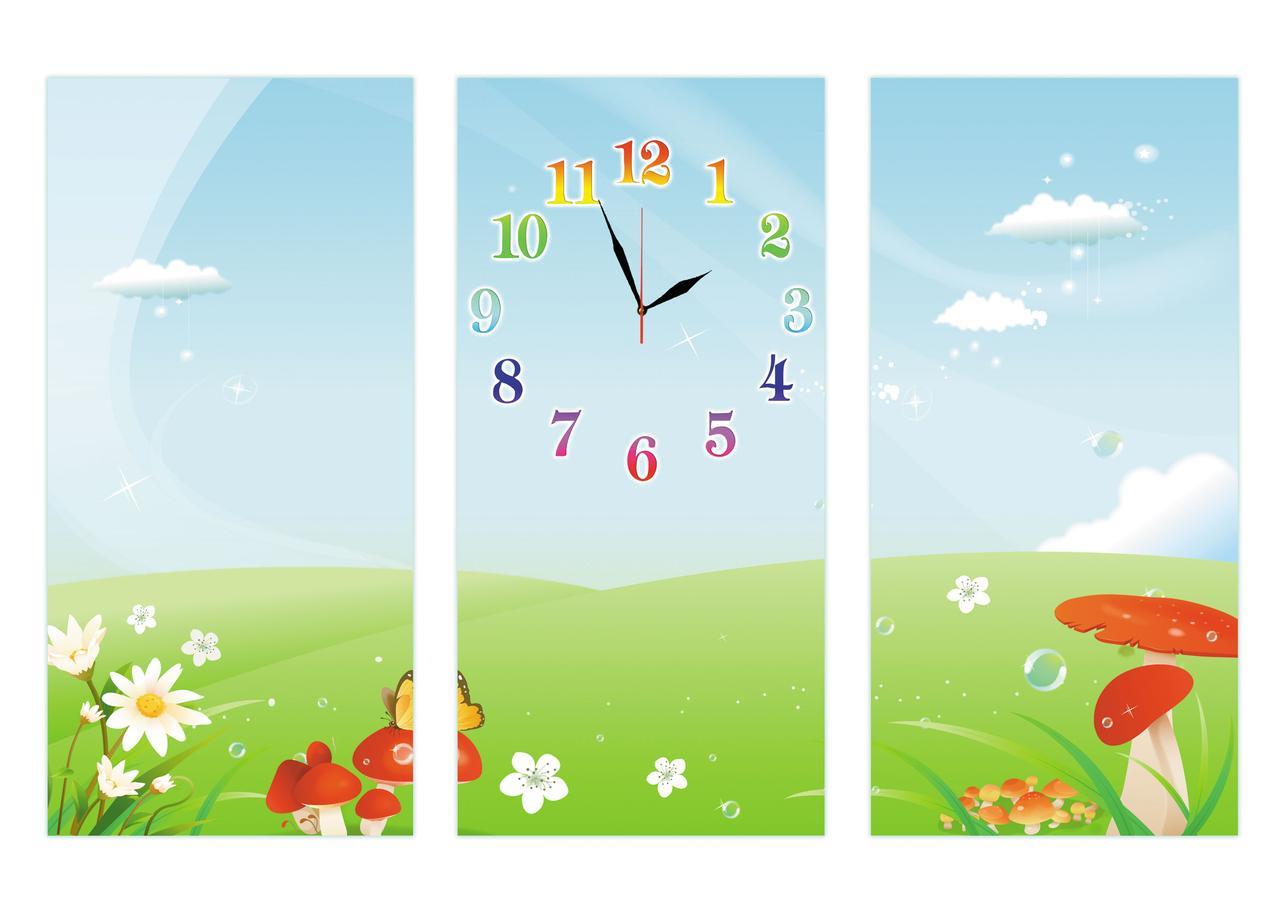 Детские настенные модульные часы Сказочная лужайка 90х50