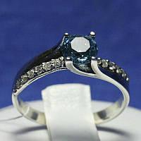 Серебряное кольцо с голубым фианитом 1039г, фото 1