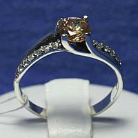Серебряное кольцо с фианитом янтарным 1039кон, фото 1