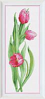 Набор для вышивания нитками Розовые тюльпаны