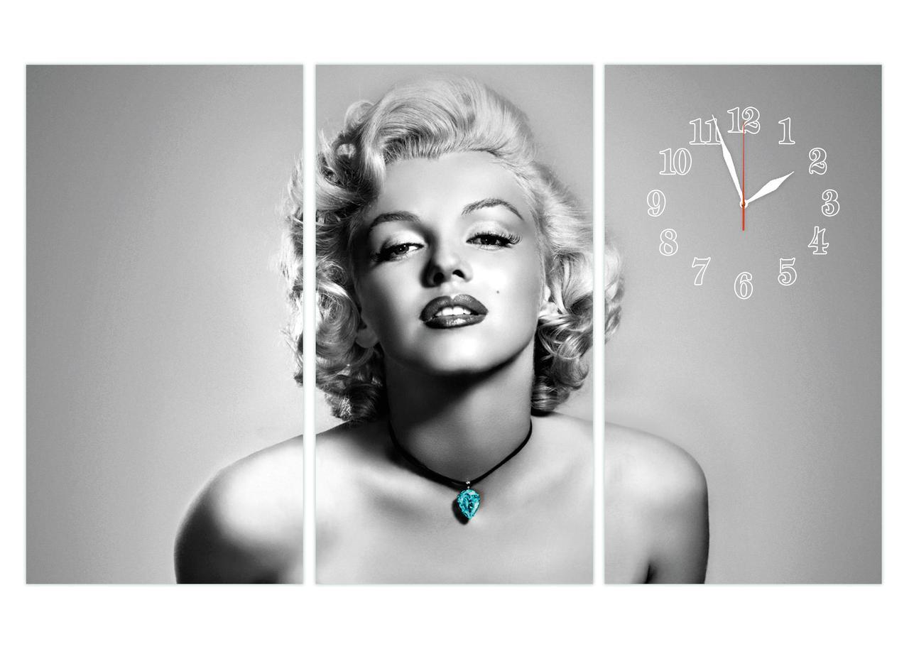 Настенные часы Мерлин Монро черно-белые триптих-96х60см
