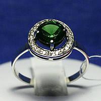 Кольцо из серебра с зеленым камнем 11090з, фото 1