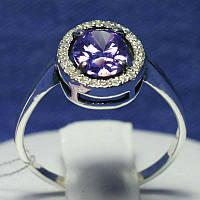 Серебряное кольцо с фиолетовым цирконом 11095фиол