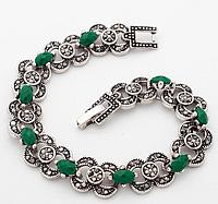 Браслет с зелеными камнями код 1239