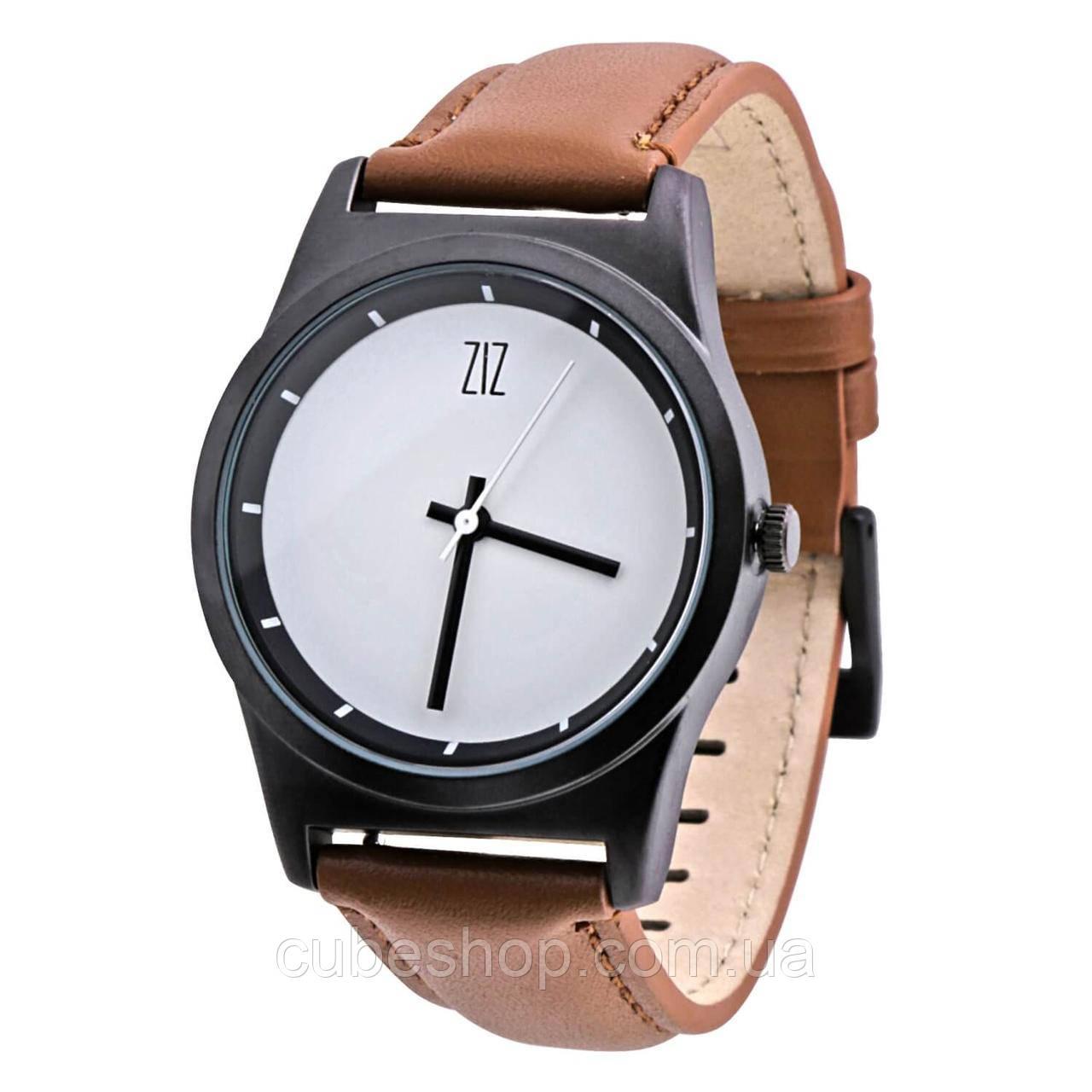 """Часы """"6 секунд"""" White (коричневый ремешок)"""