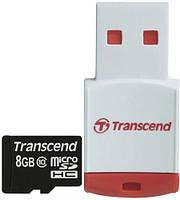Карта памяти Transcend microSDHC 8 GB Class 10 (+ RDP3 картридер)