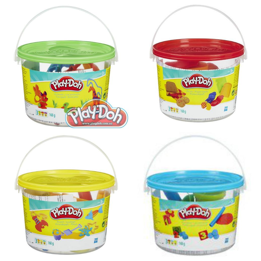 Набор Play-Doh в мини-ведёрке (пластилин+формочки)