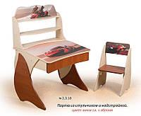 """Стол-растишка детский школьный """"Умник"""" (2.3.18) с надстройкой и защитной фотопечатью (комплект парта+стул) ТМ Вальтер"""