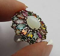Роскошное кольцо с опалом (10Х8 )и турмалинами