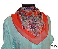 Легкий красный женский шелковый платок
